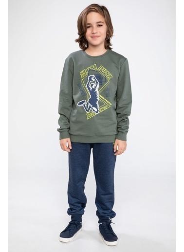 DeFacto Slam Dunk Baskılı Sweatshirt Yeşil